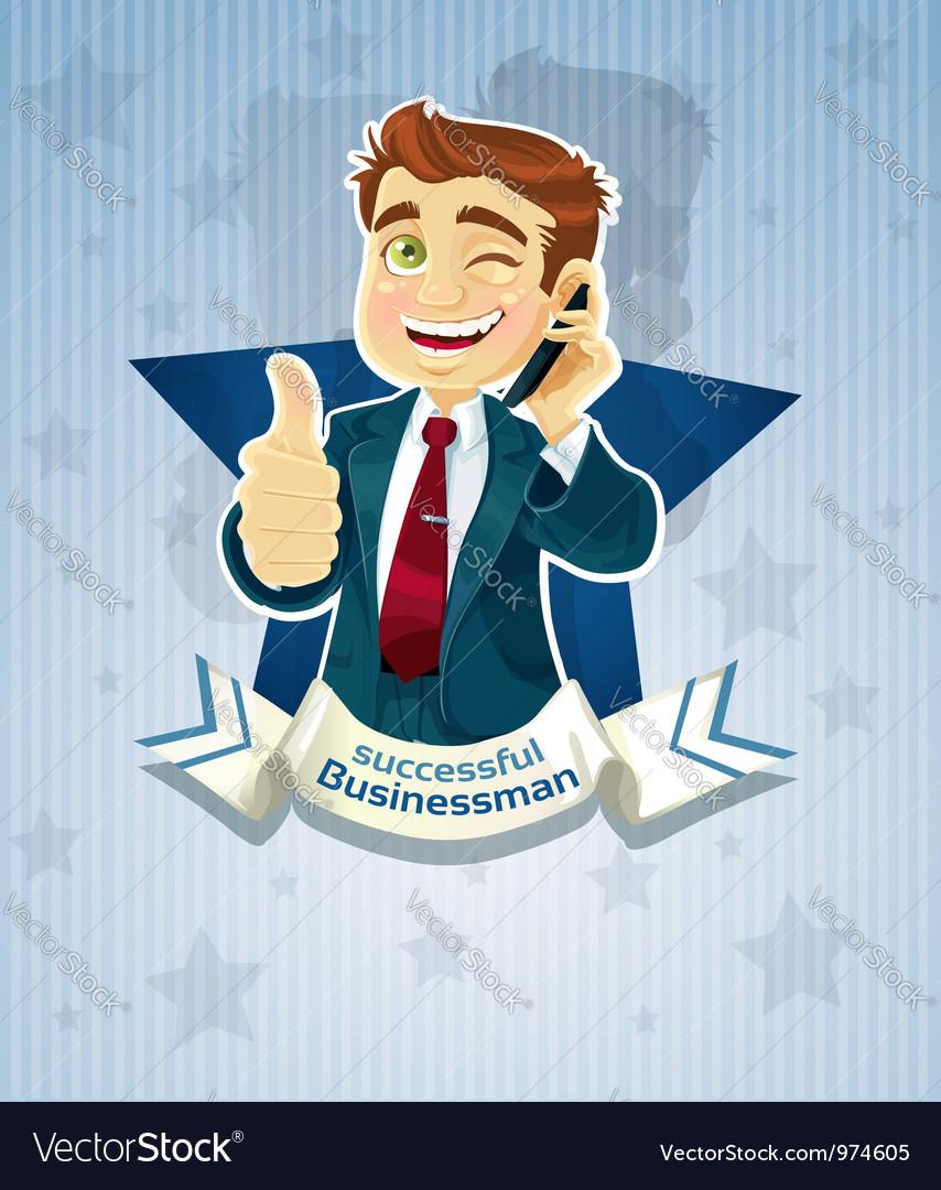 Cute successful businessman star poster