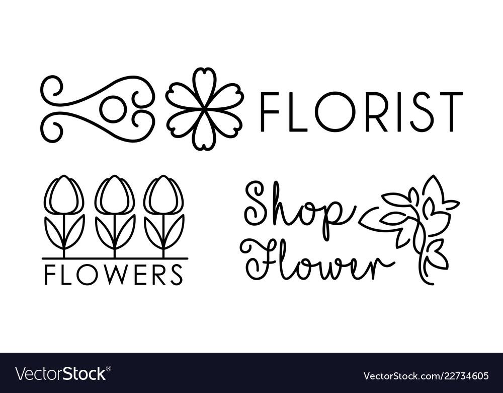 Flower shop linear logo floral design elements