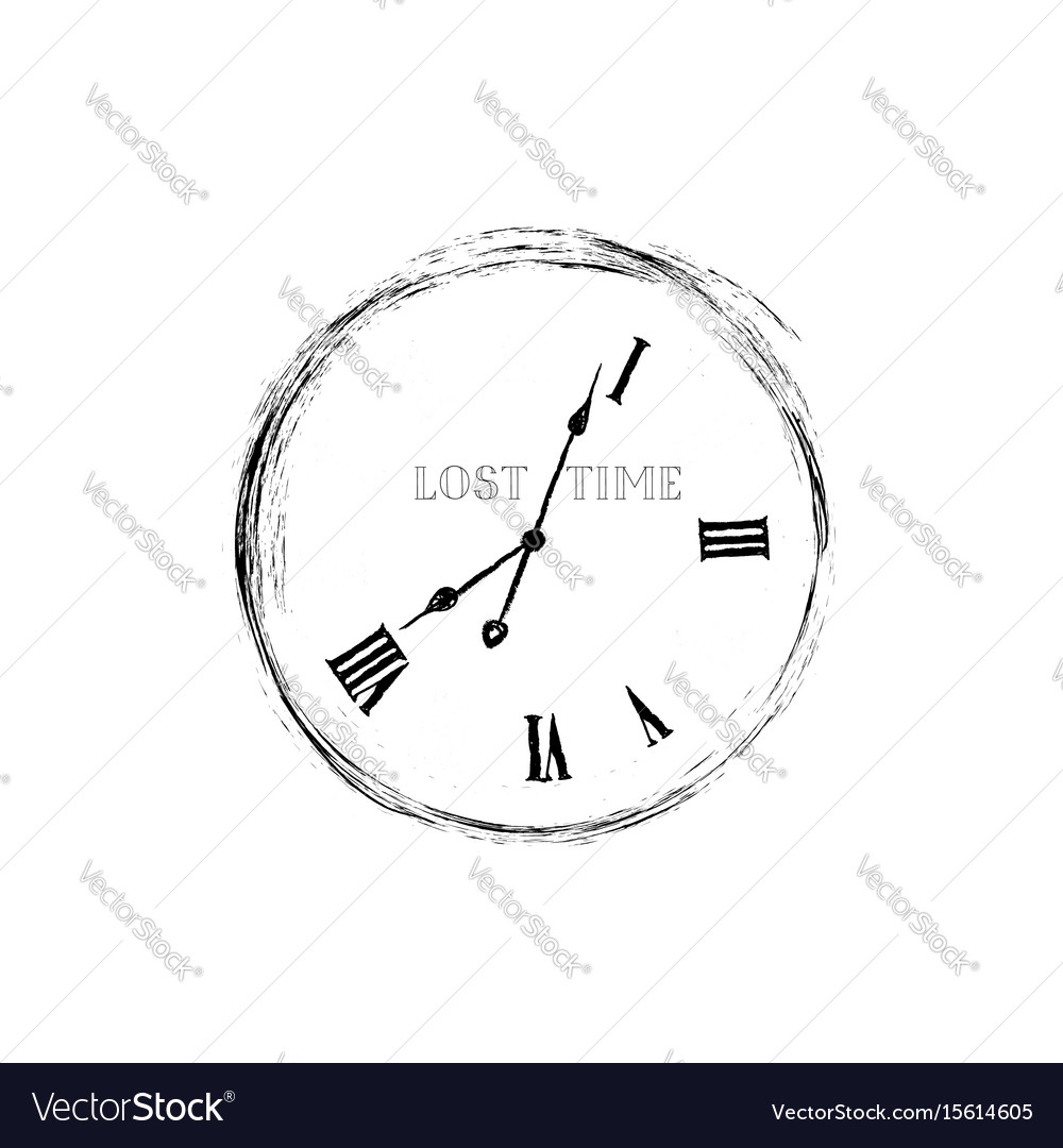 Lost time concept doodle watch dial with damaged vector image