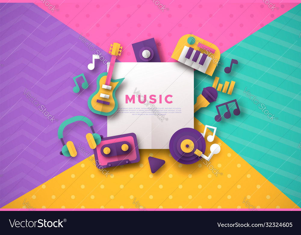 Paper cut music icon template for musical event