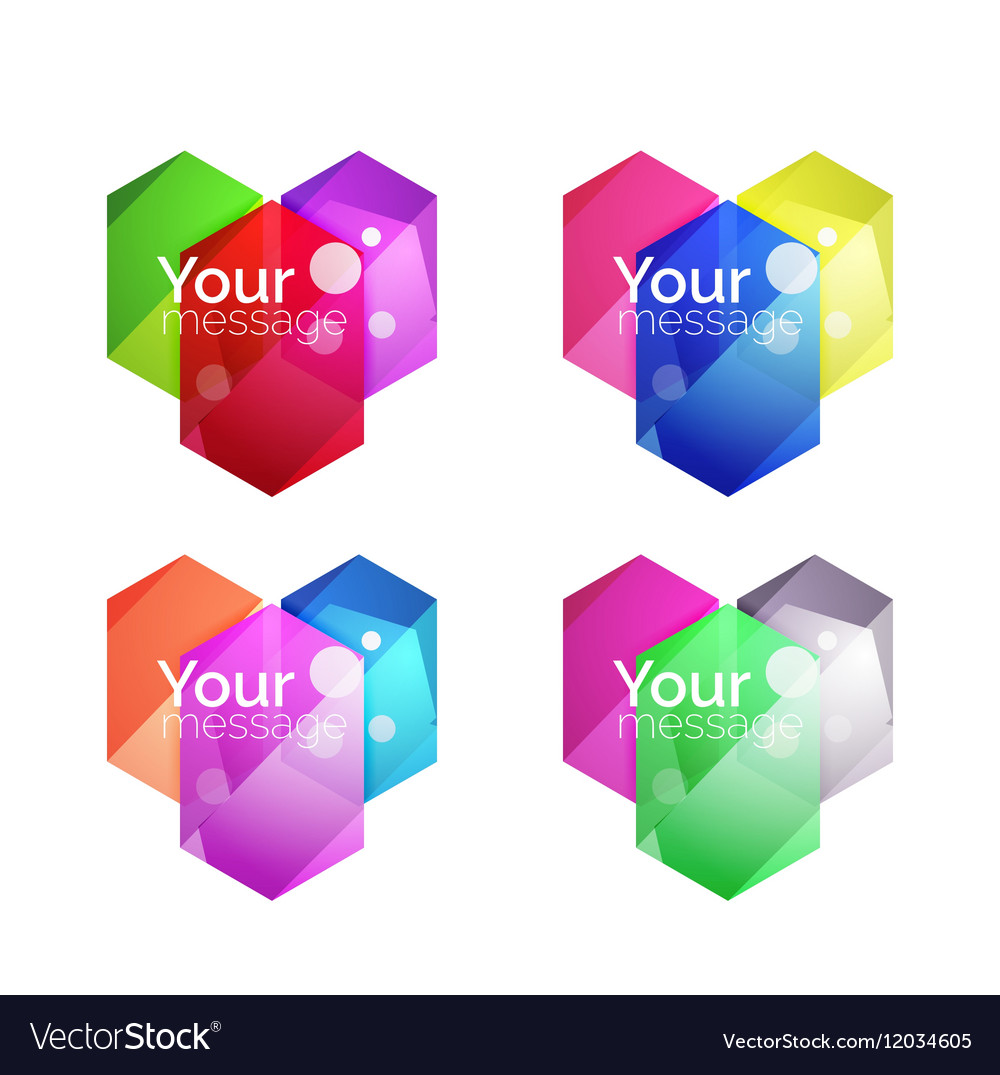 Set of shiny blank boxes for your content vector image on VectorStock