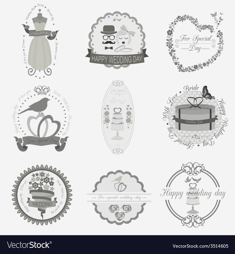 Set of vintage wedding and wedding fashion style