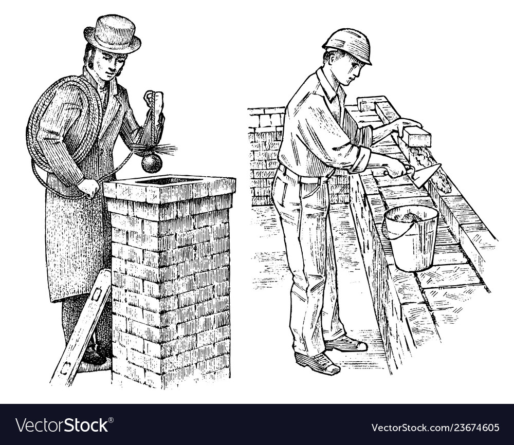 Technician bricklayer and man builder on the roof
