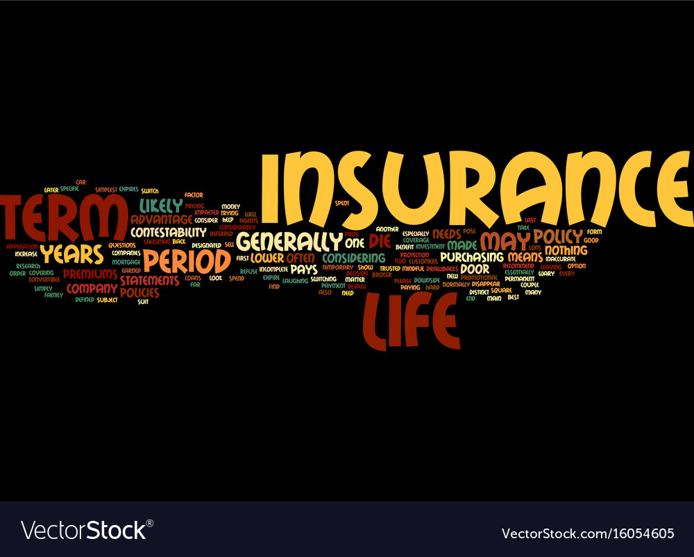 term life insurance defined text background word vector image