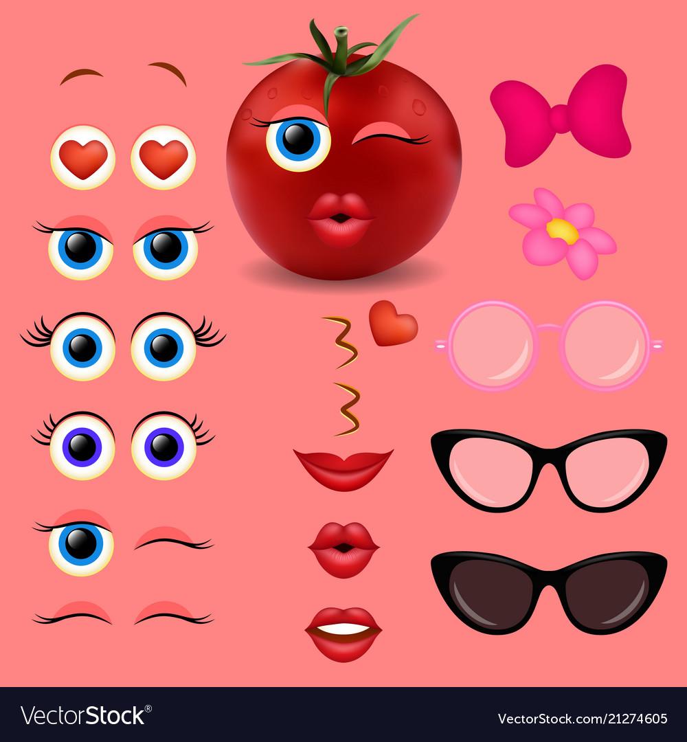 Tomato girl emoji creator design collection