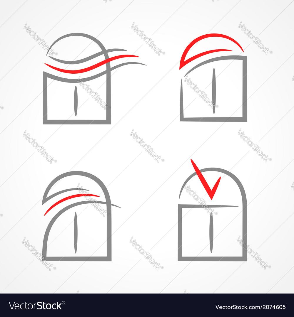 Windows set emblem symbol element icons