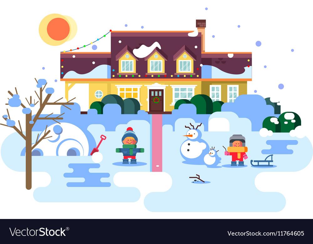 Winter night children play