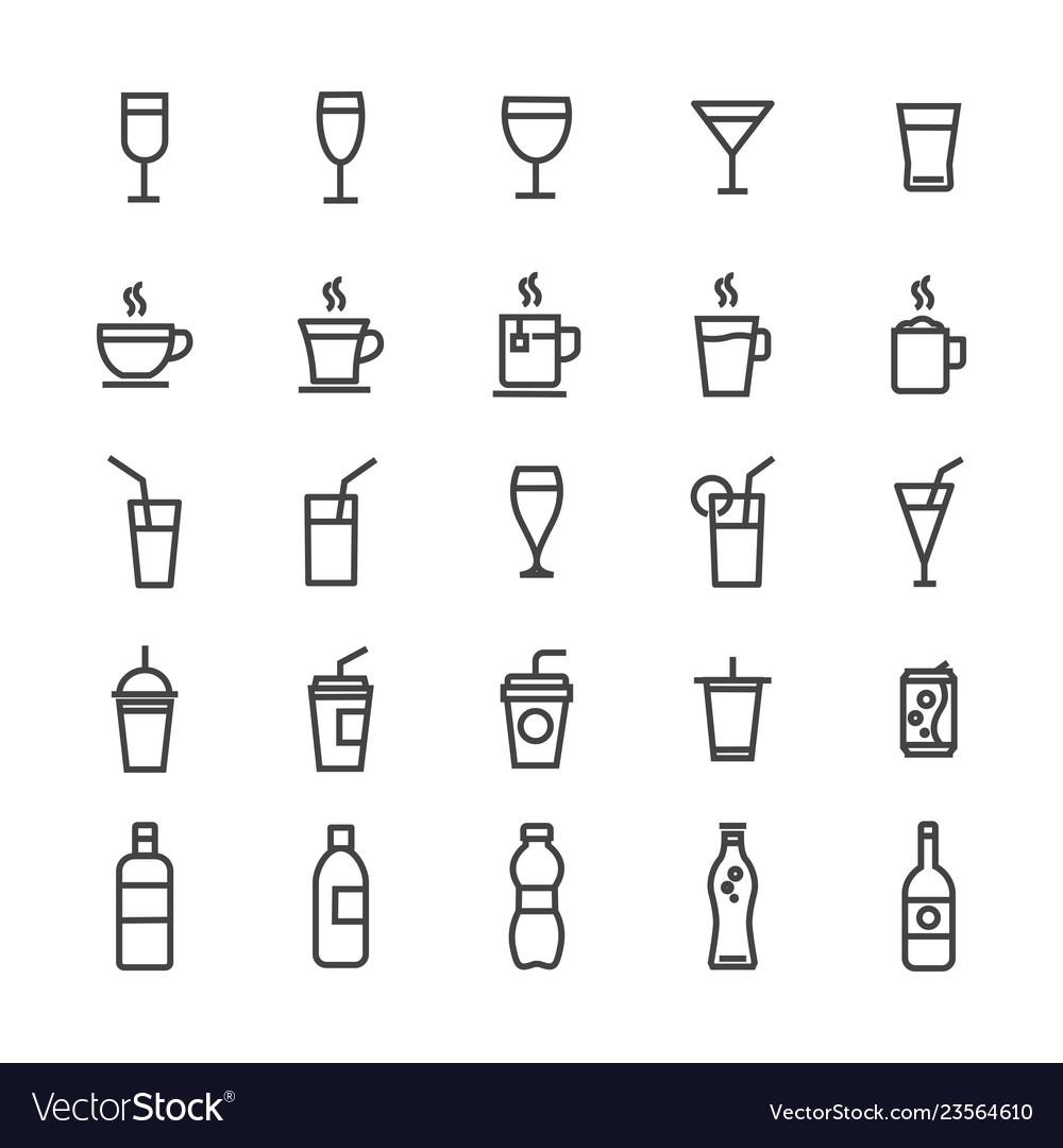 Drinks icons set