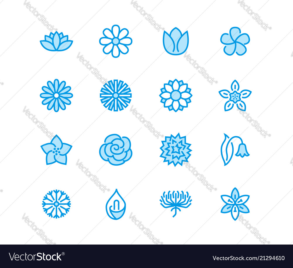 Flowers flat line icons beautiful garden plants