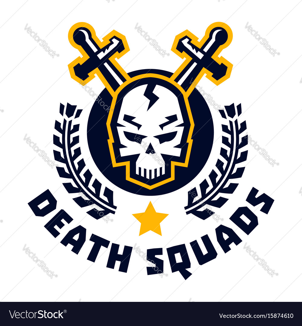 Logo death squad human skull and cross swords