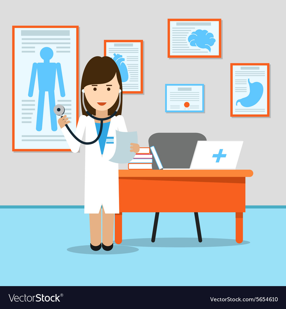 Medical doctor at the table vector image