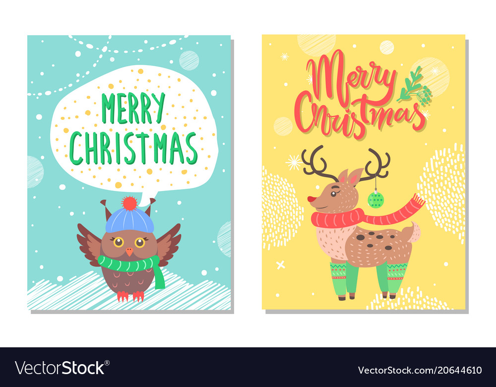 Merry christmas greeting cards with owl and deer vector image m4hsunfo
