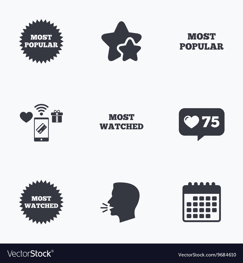 Most popular star icon Most watched symbol