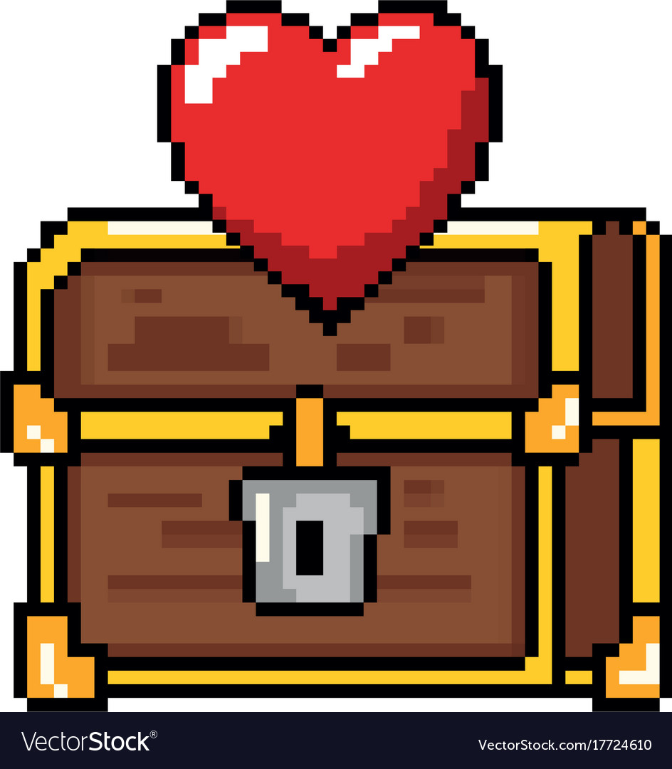 Blood splatter pixelated. Treasure chest with heart