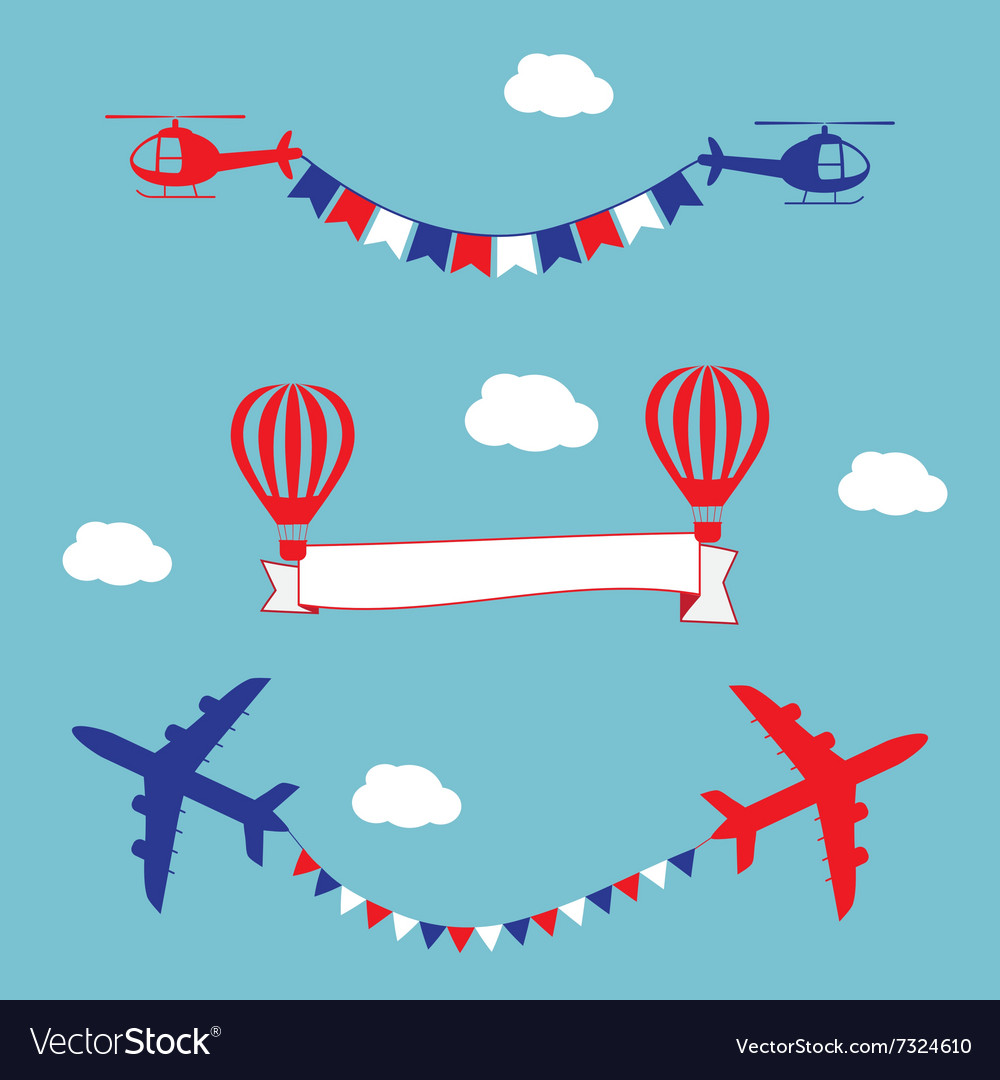 Plane air balloons and helicopters flying with vector image