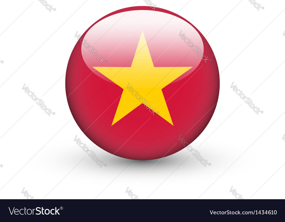 Round Icon With National Flag Of Vietnam Vector Image