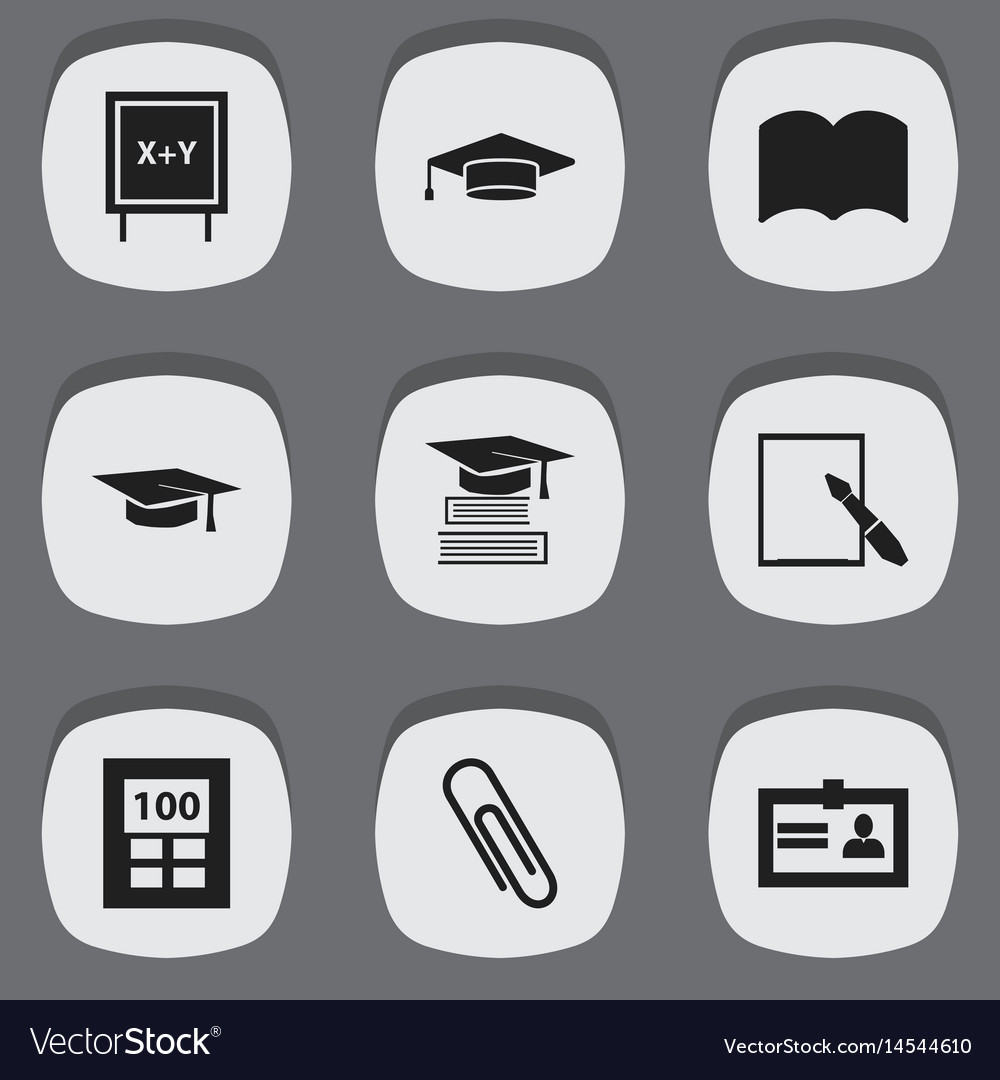 Set of 9 editable education icons includes