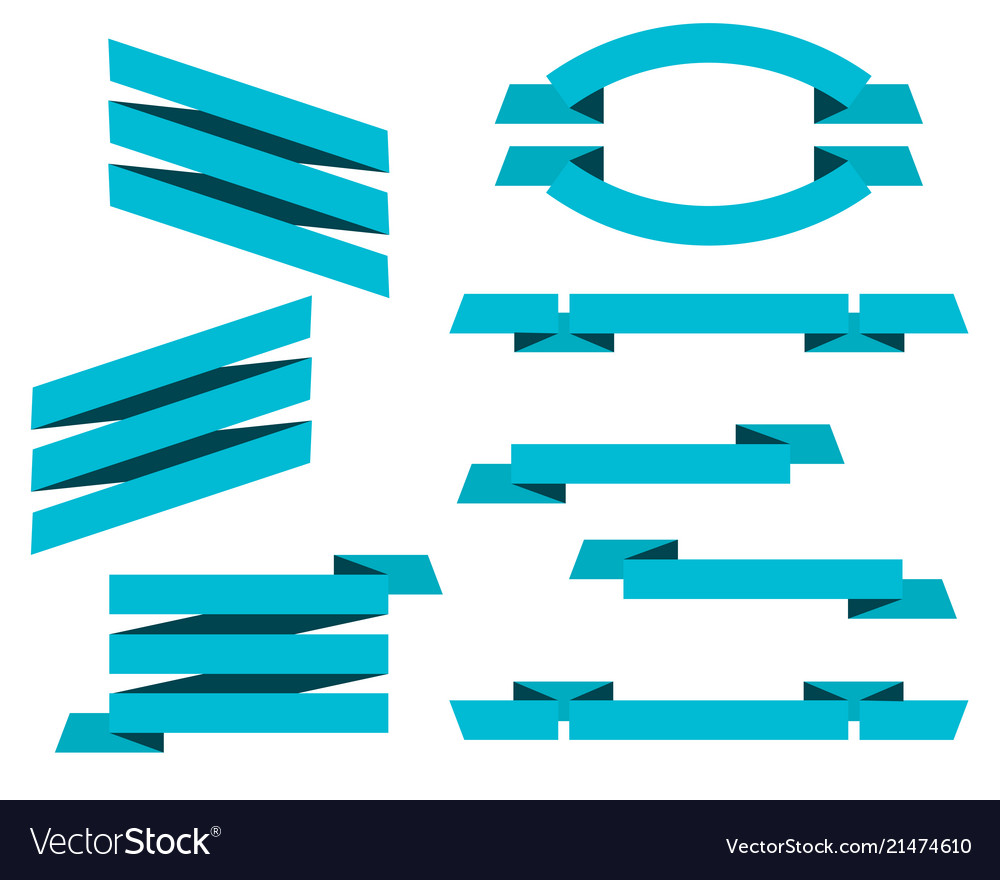 Set of blue flat ribbons banners isolated on