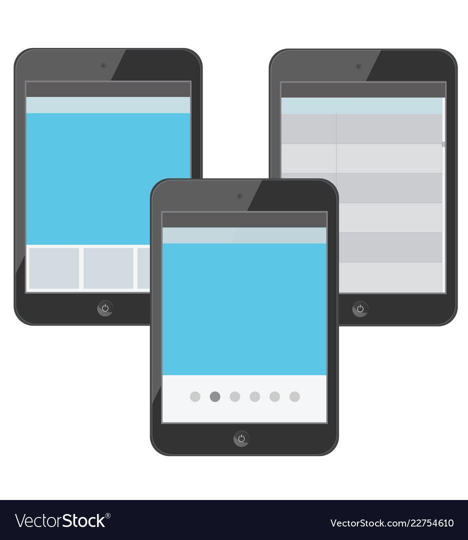 Set of digital devices with tabs