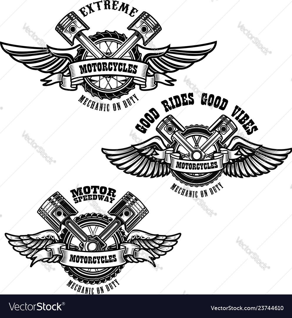 Set of motorcycle repair emblems bike motor