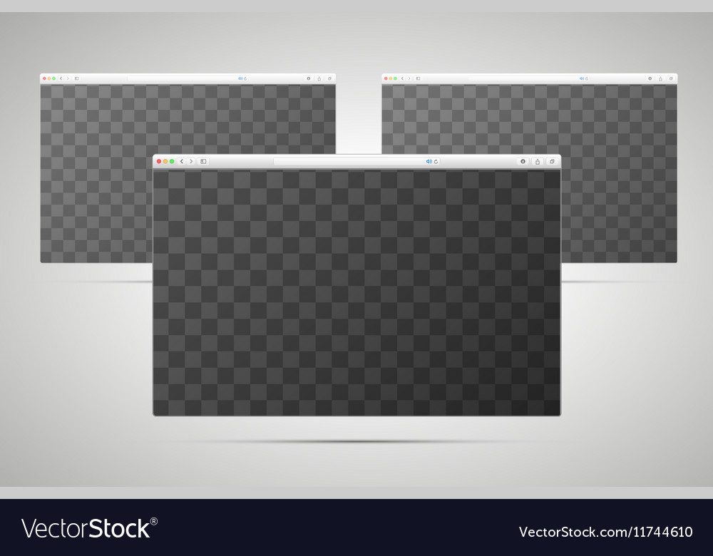 Three browsers windows with transparent place for