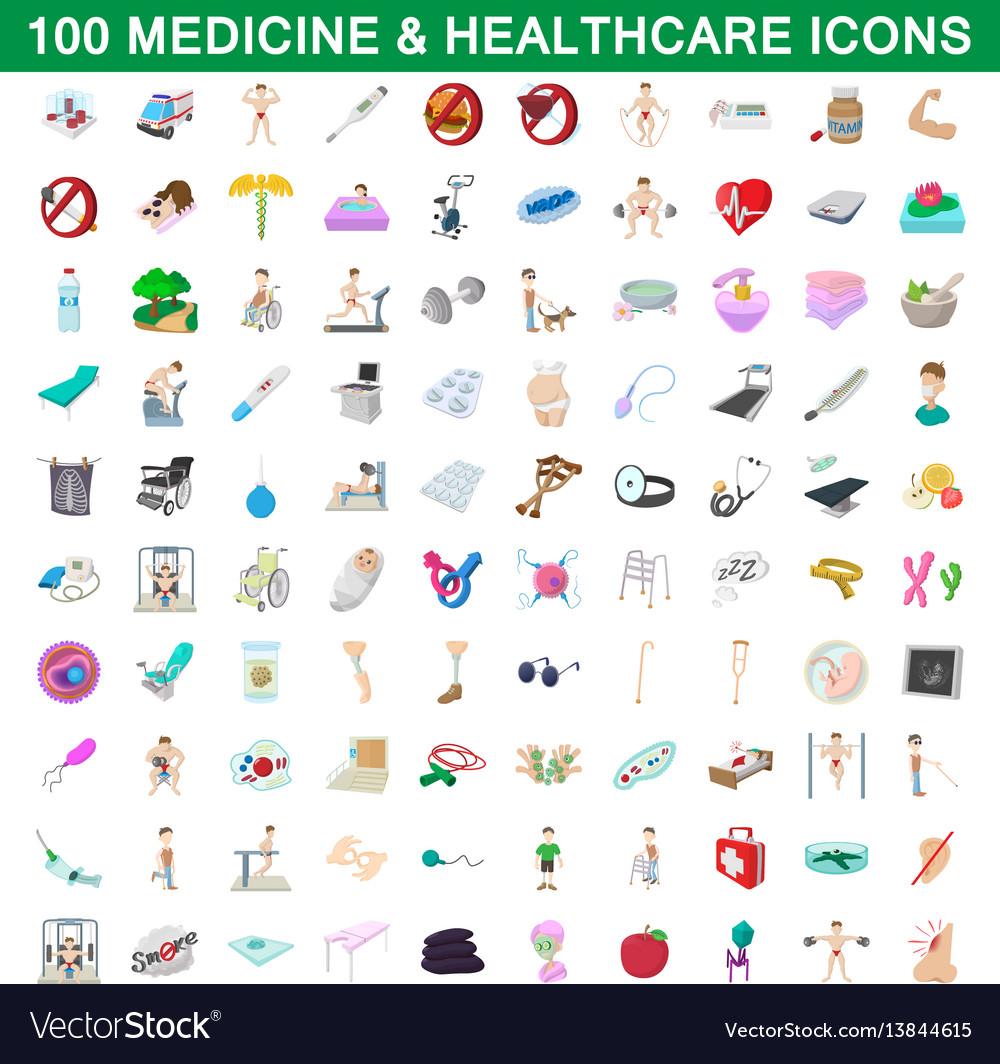 100 medicine and healthcare icons set