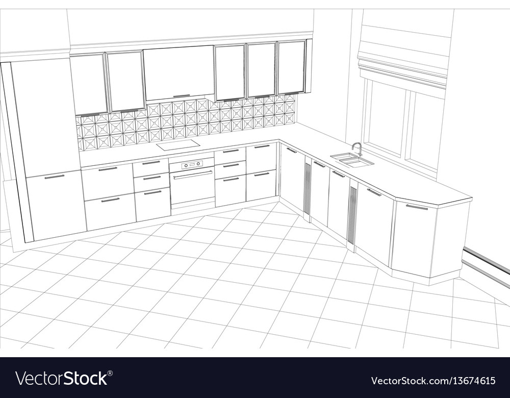Abstract Sketch Design Interior Kitchen Royalty Free Vector