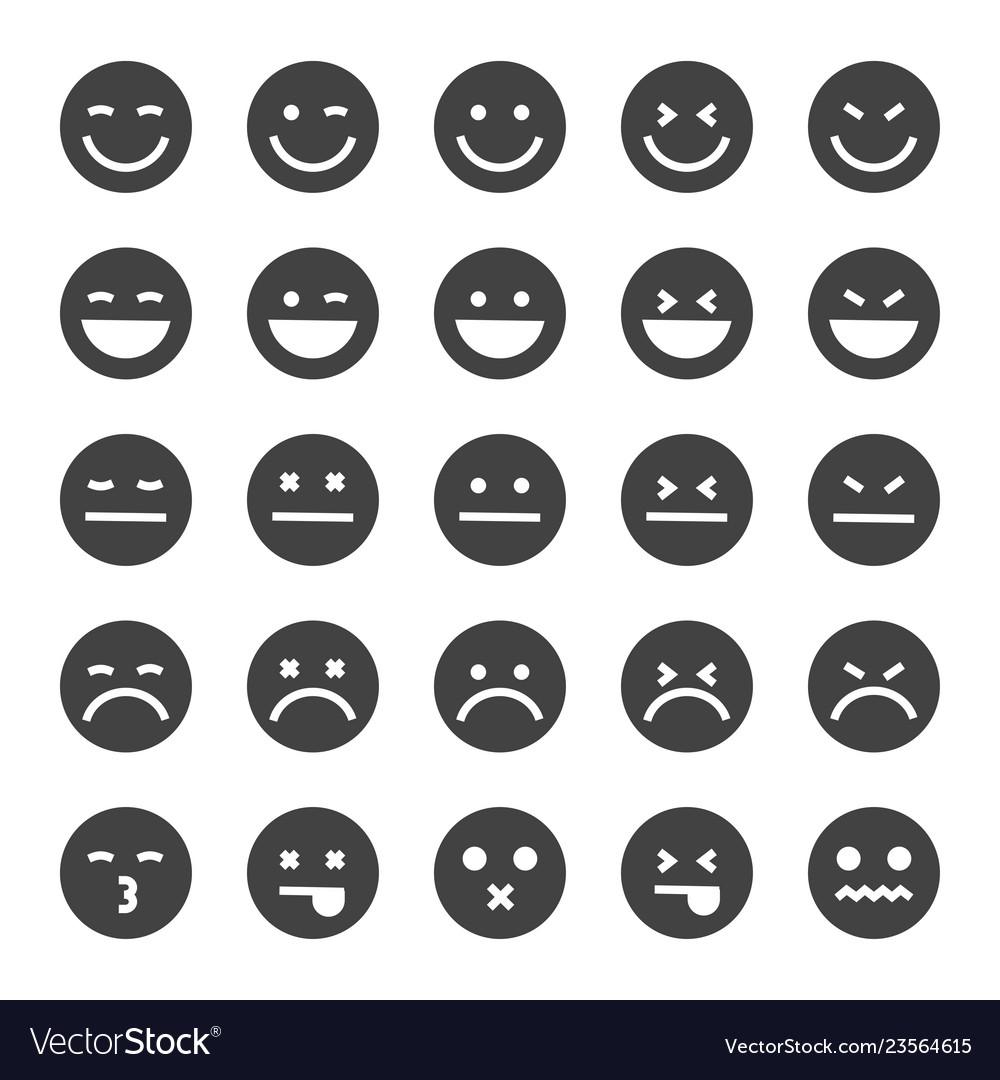 Black emoticons icon set