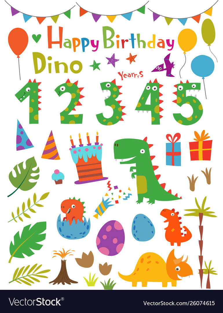 Cartoon funny dinosaurs and design elements