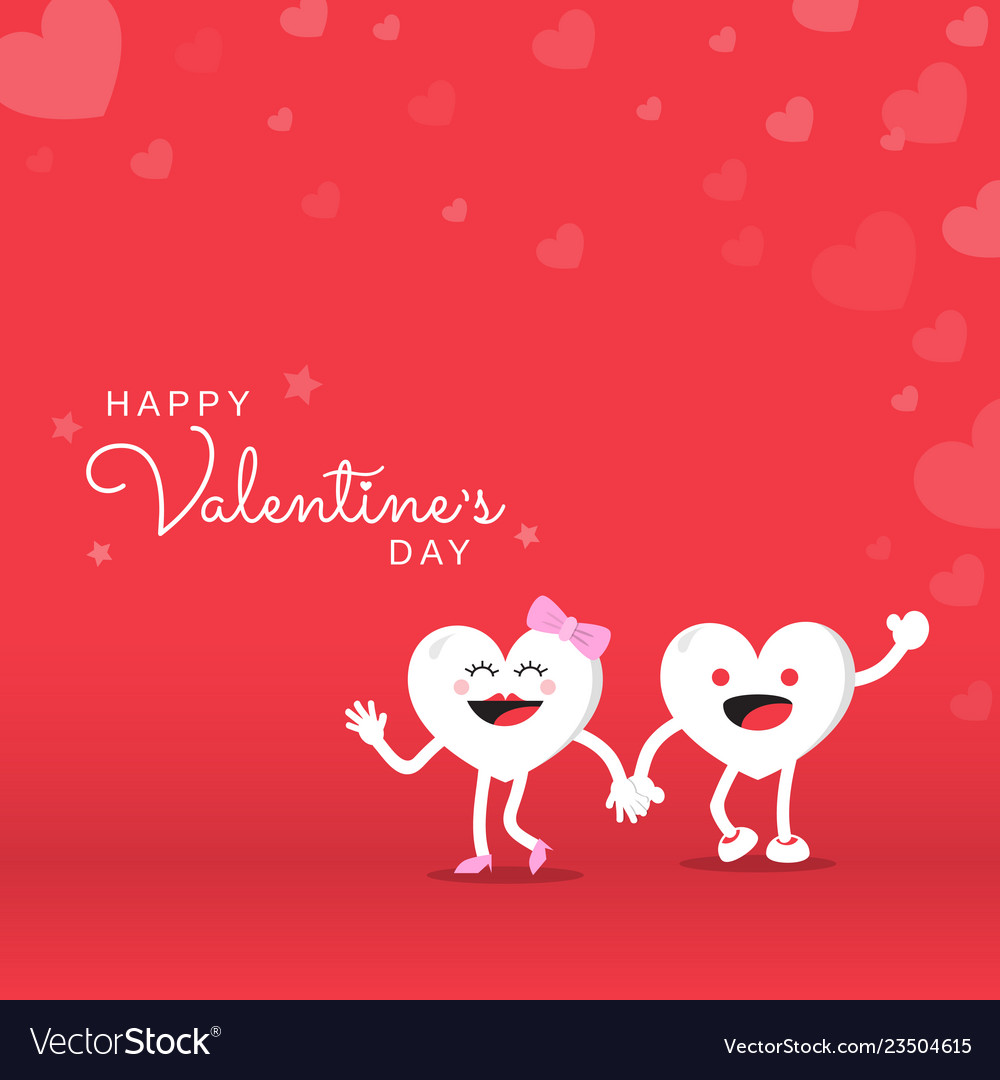 Couple heart cute cartoon character for happy