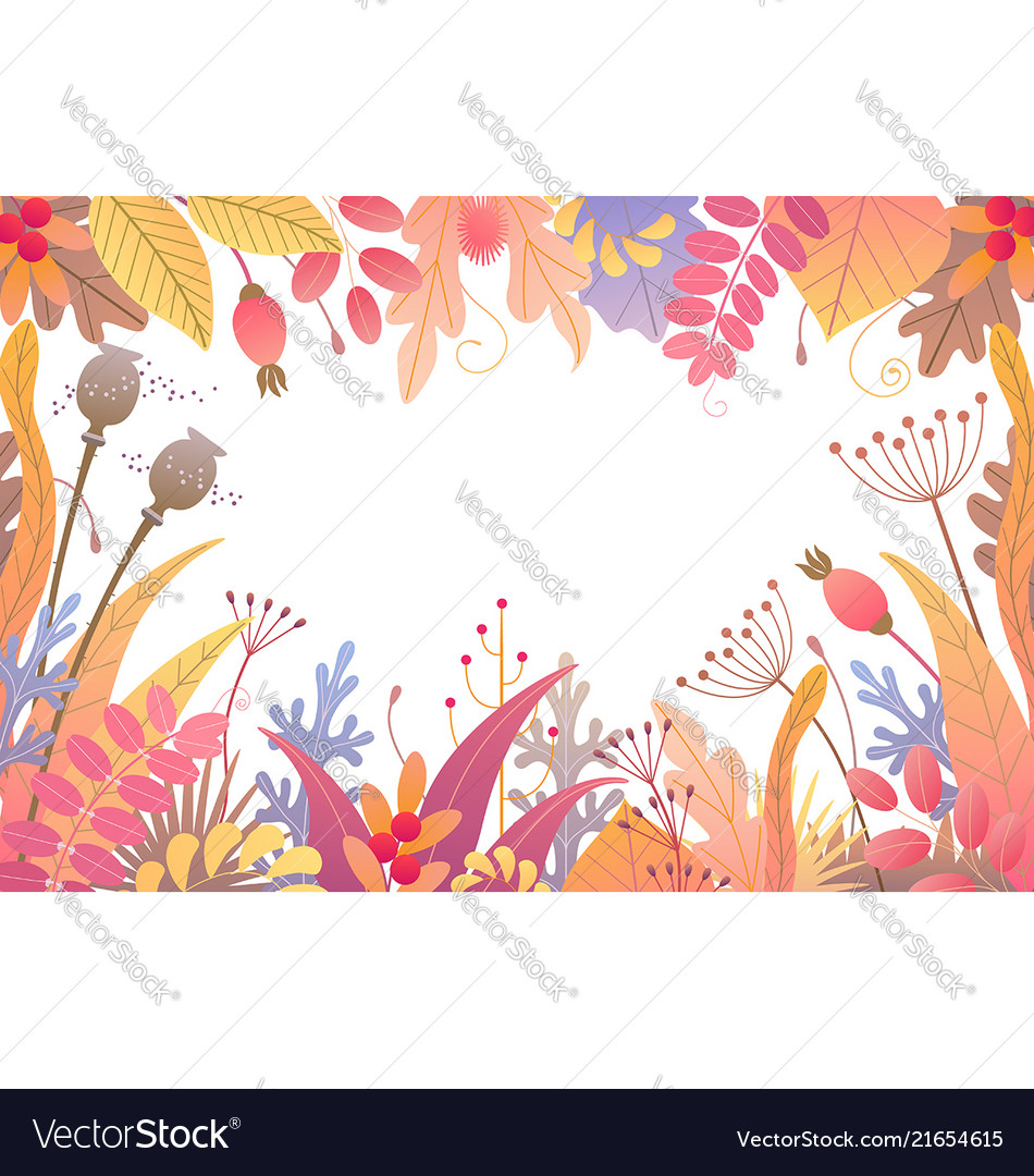 Floral frame with autumn plants