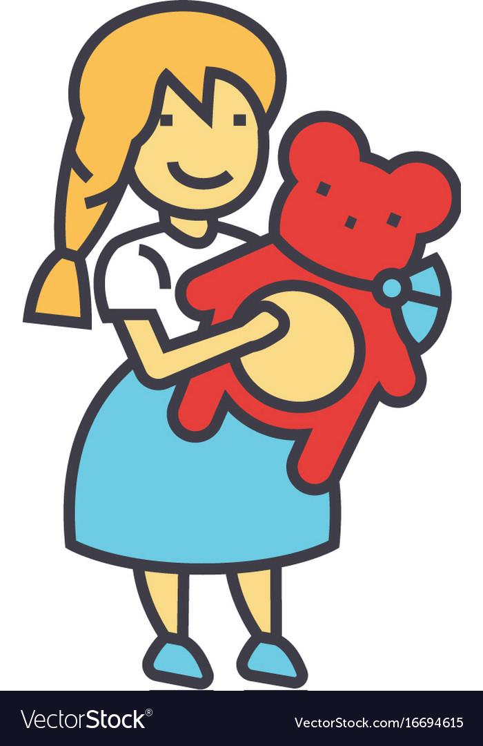 Girl with teddy bear concept line icon