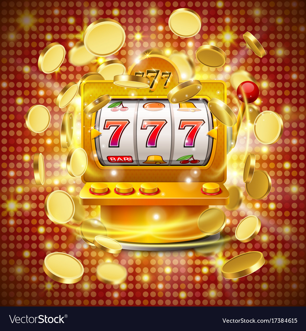 Golden slot machine wins the jackpot