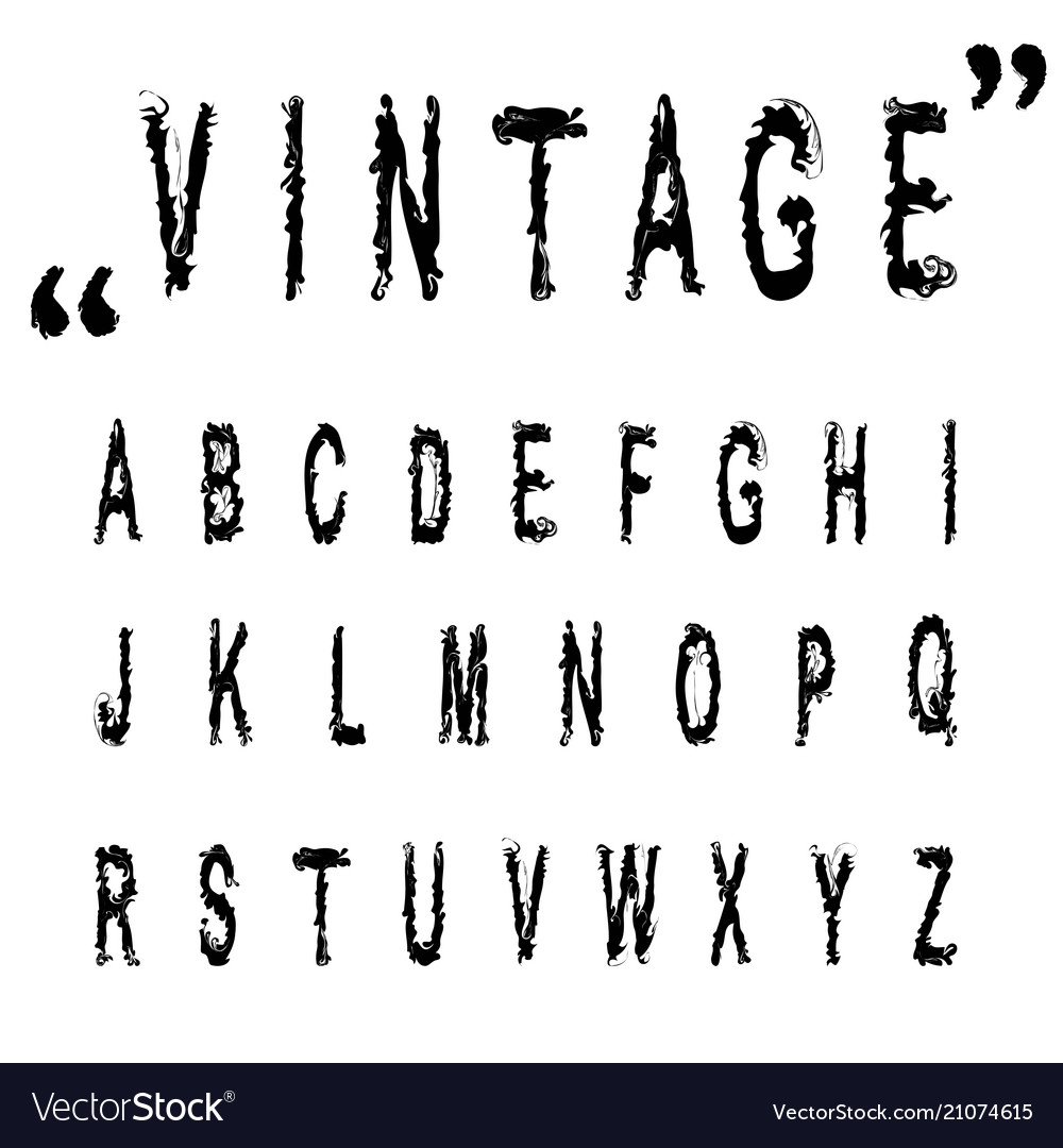 Hand drawn letters vintage alphabet abc n