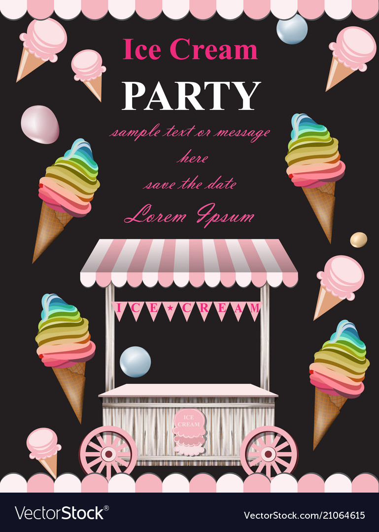 Ice Cream Party Invitation Card Summer Ice