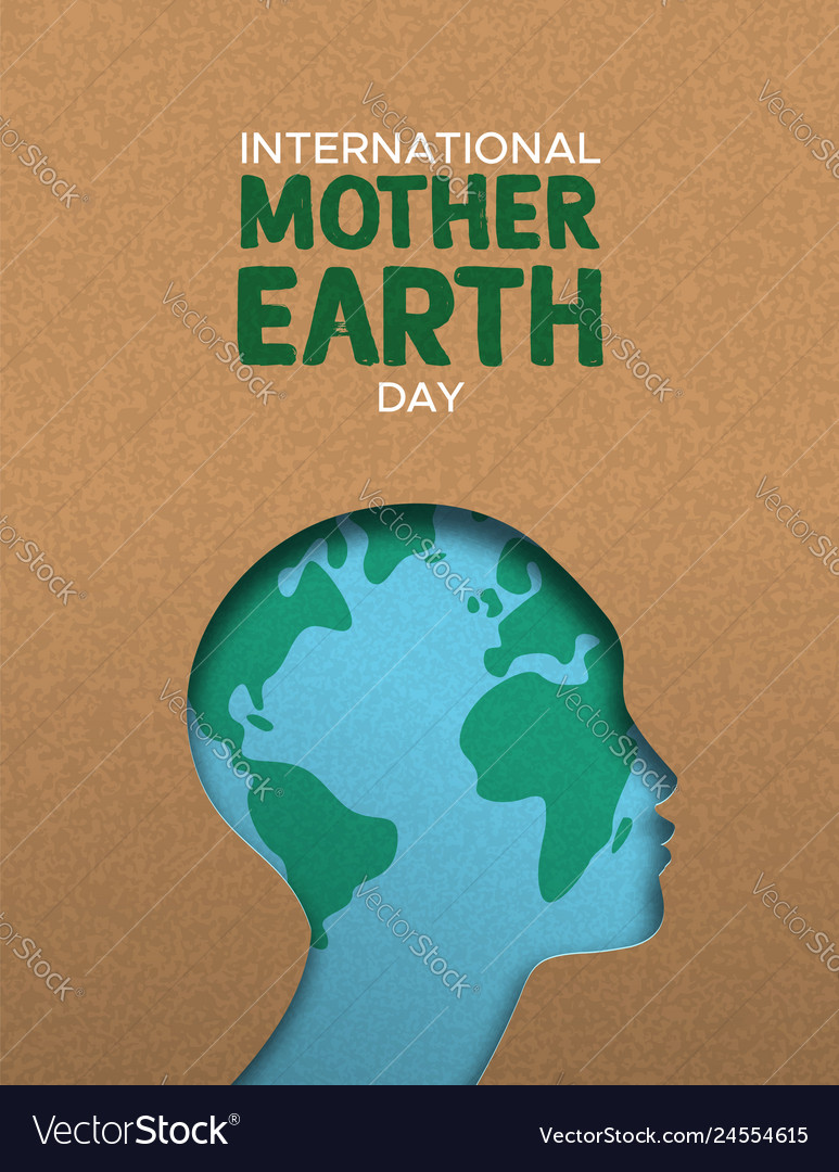 Mother earth day poster of paper cut woman head