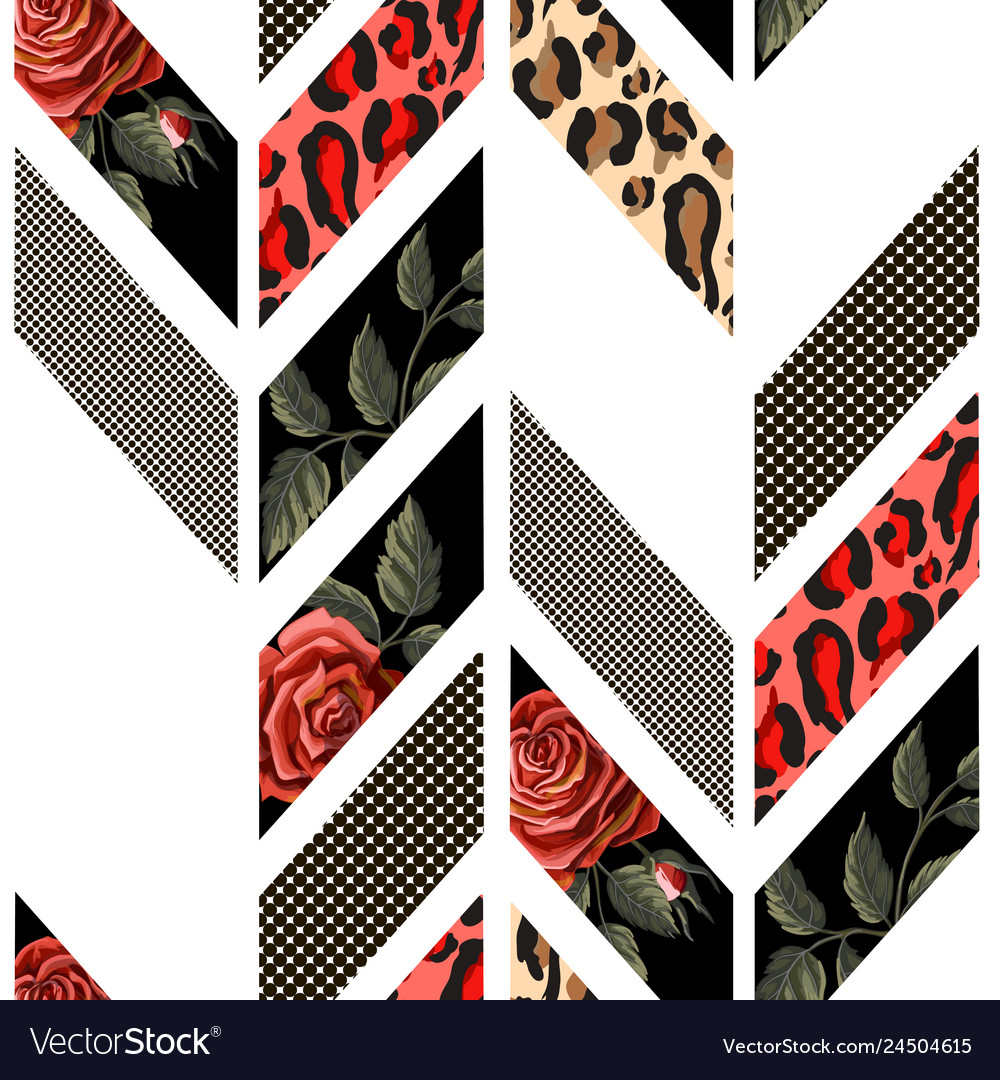 Seamless pattern with roses leopard skin