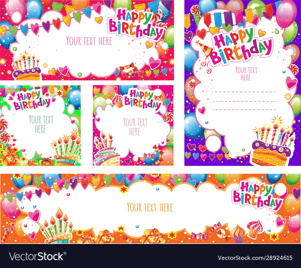Set birthday cards and banners