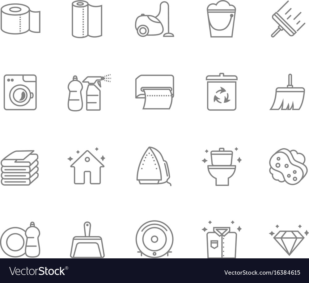 Set of 20 cleaning line icons