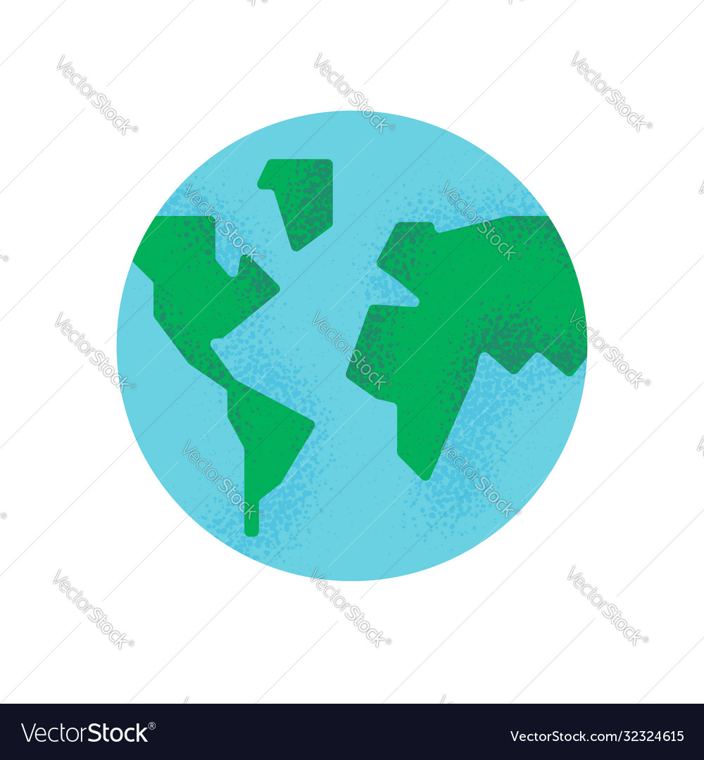 Simple earth planet with green world map isolated