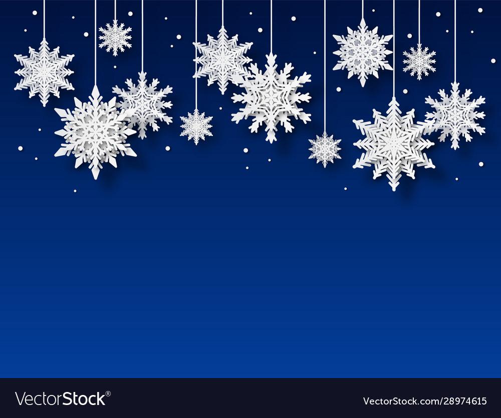 Snowflakes background papercut white snowflake