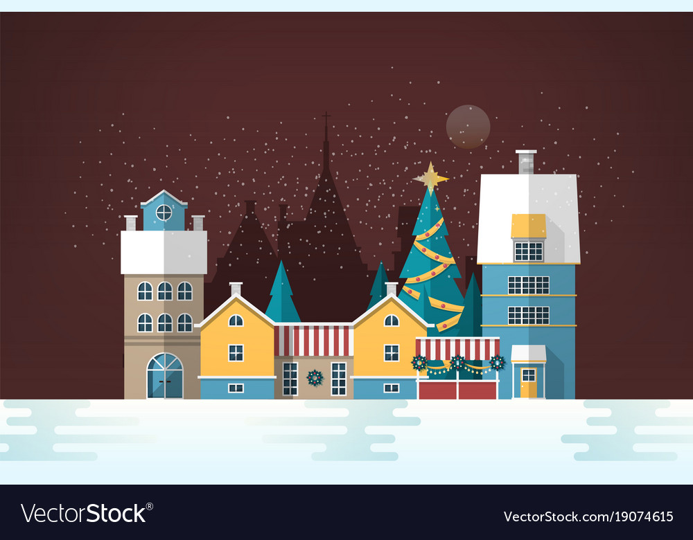 Snowy evening landscape with small european city vector image