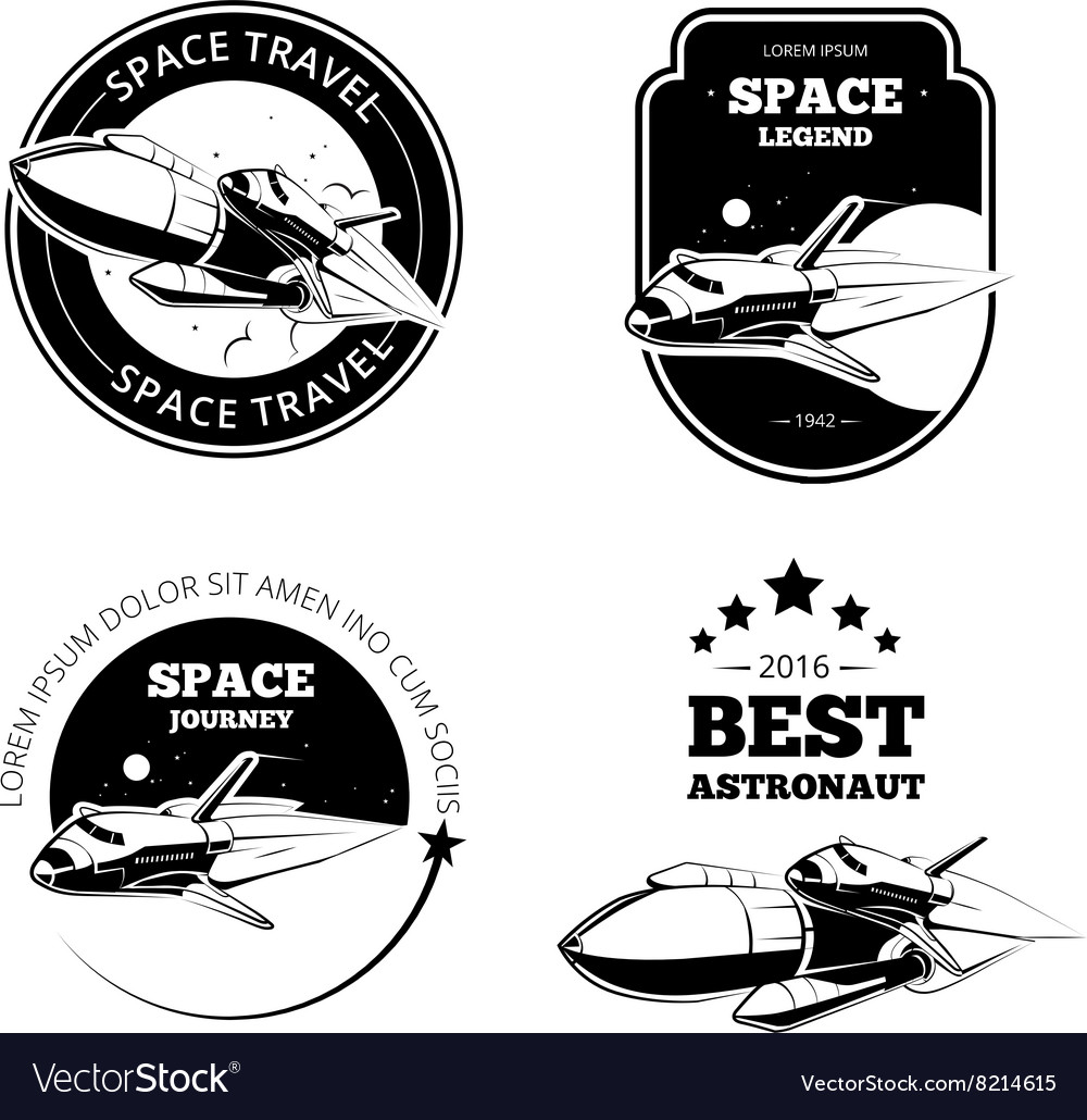 Vintage astronaut labels badges emblems