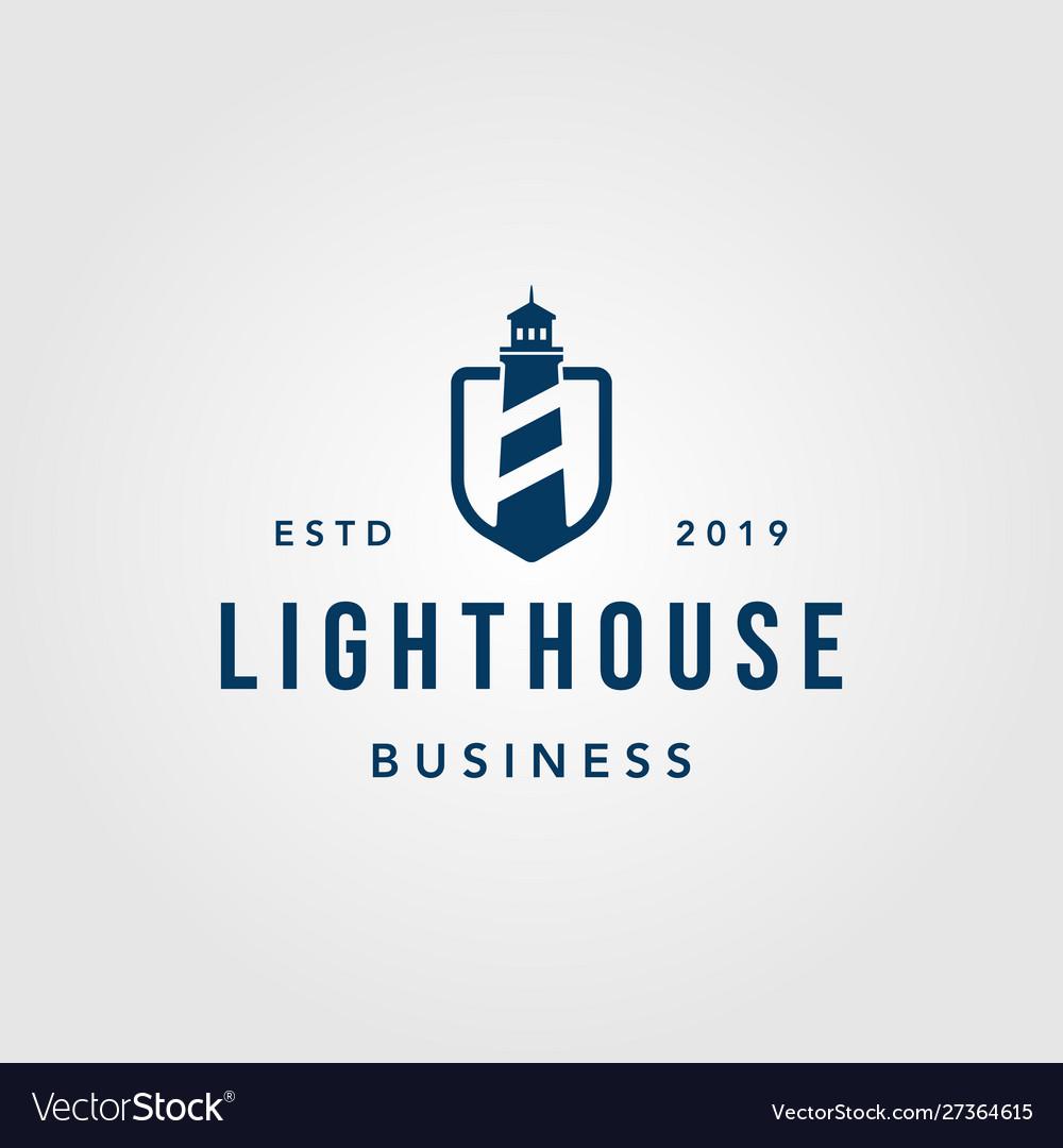Vintage lighthouse shield logo design