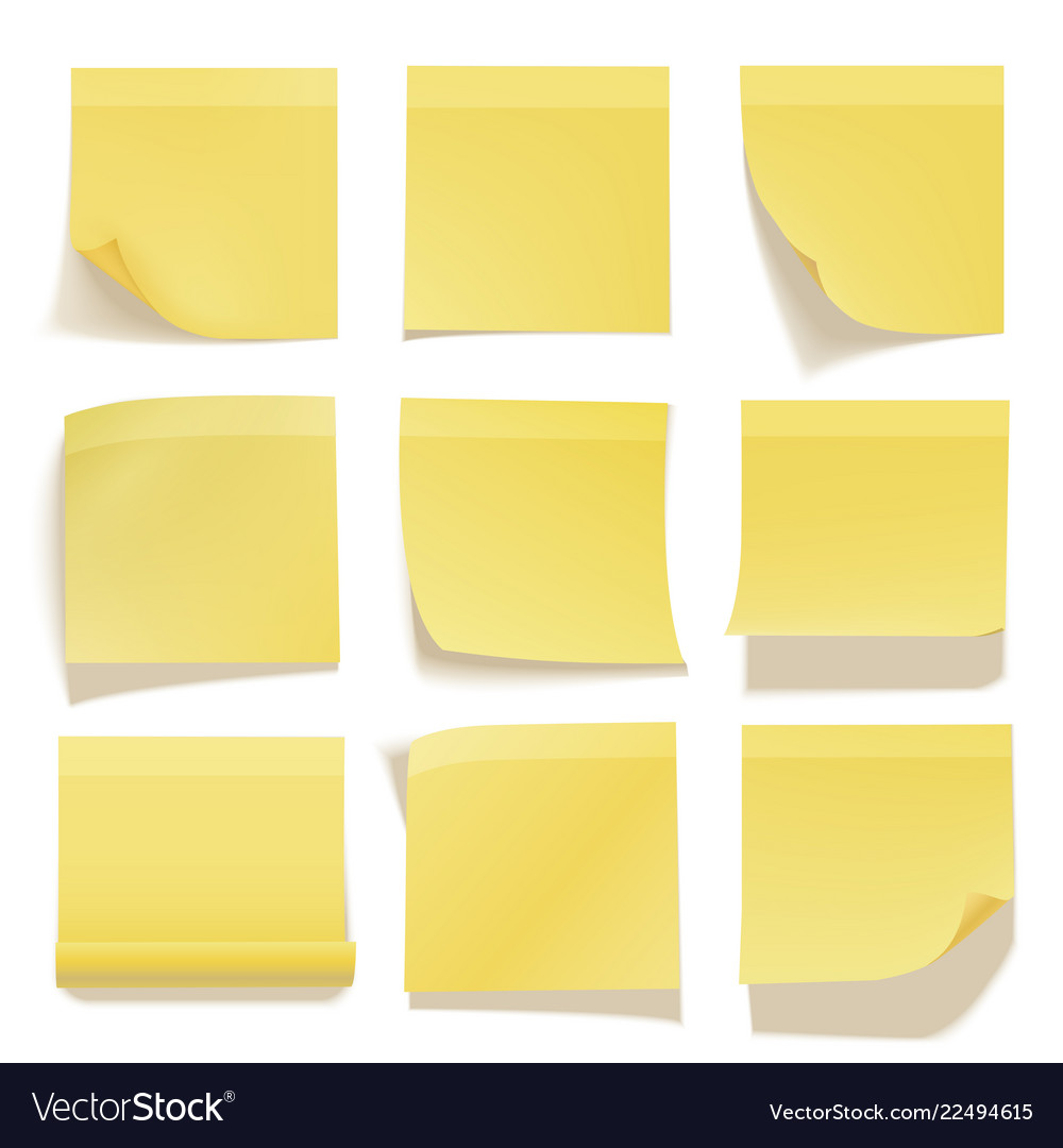 Yellow sticky note realistic office information