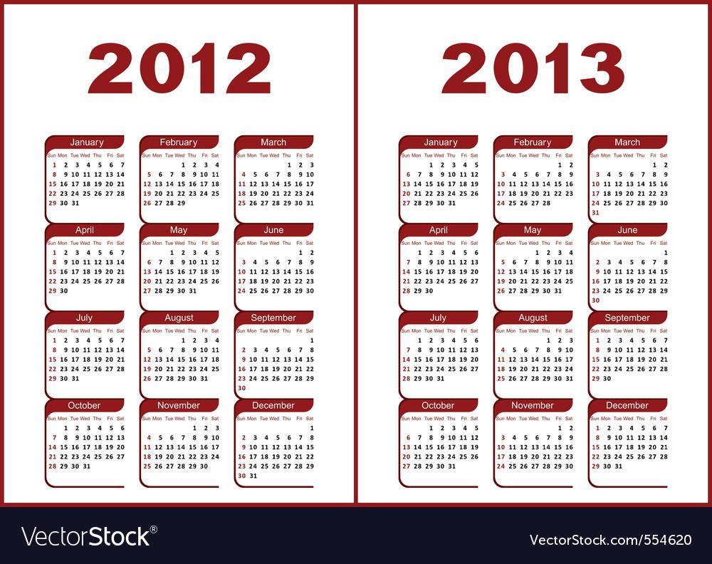 Sunday on Calendar 2012   2013 Vector 554620 By Silantiy