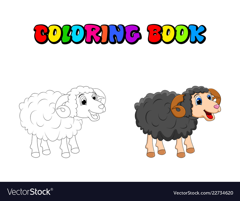 0597d2fc9 Cartoon coloring book ram design isolated on Vector Image