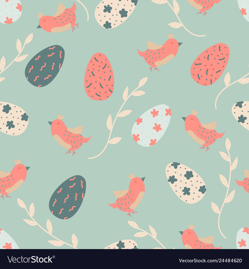 Cartoon seamless pattern with easter eggs
