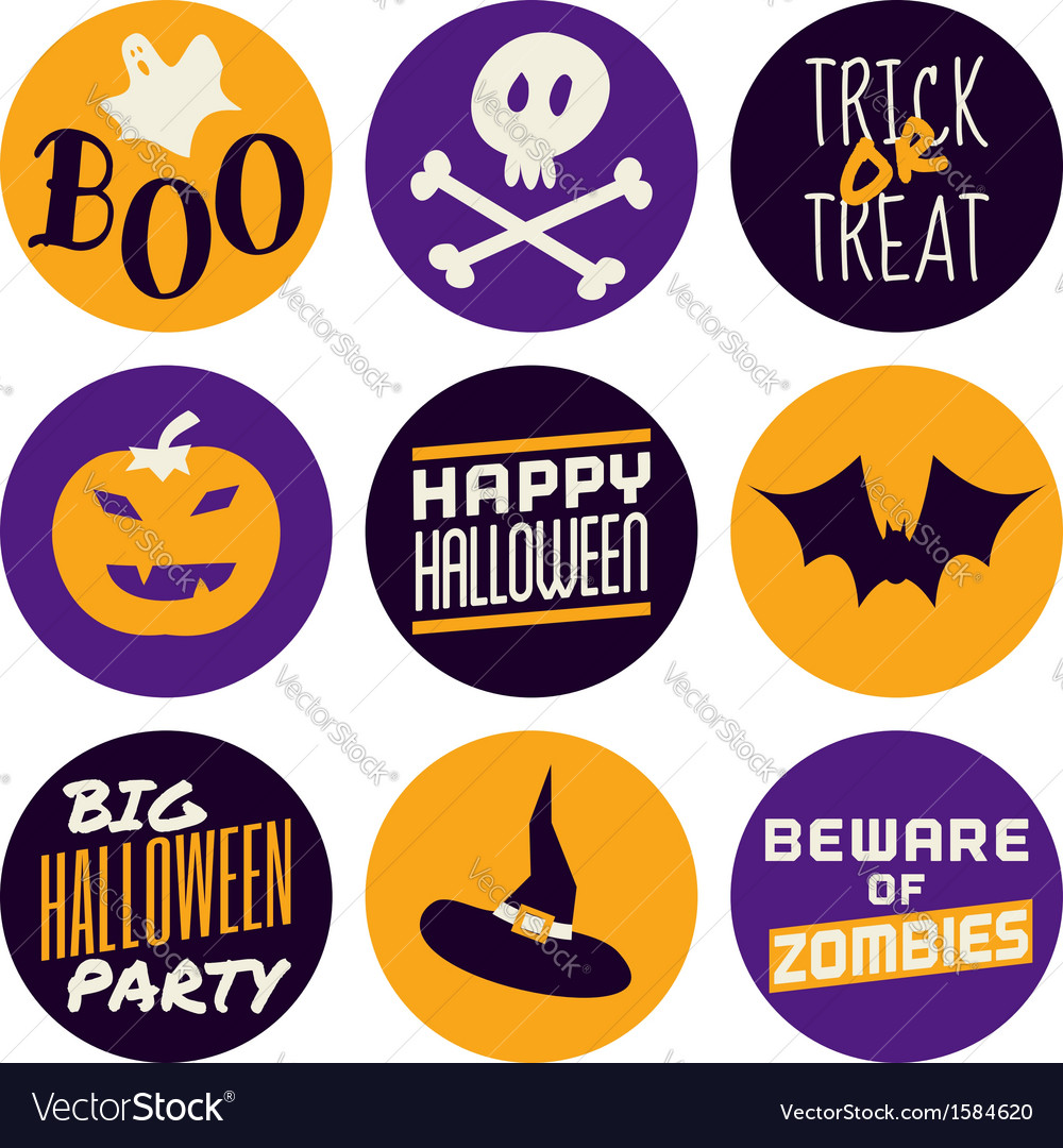 Flat design halloween icons in purple and yellow vector image