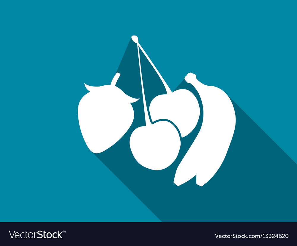 Fruit flat icon with long shadow cherries vector image